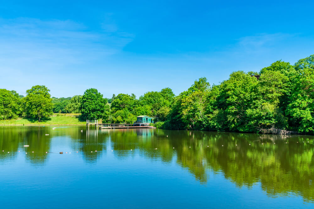 Bathing pond in Hampstead Heath park north London